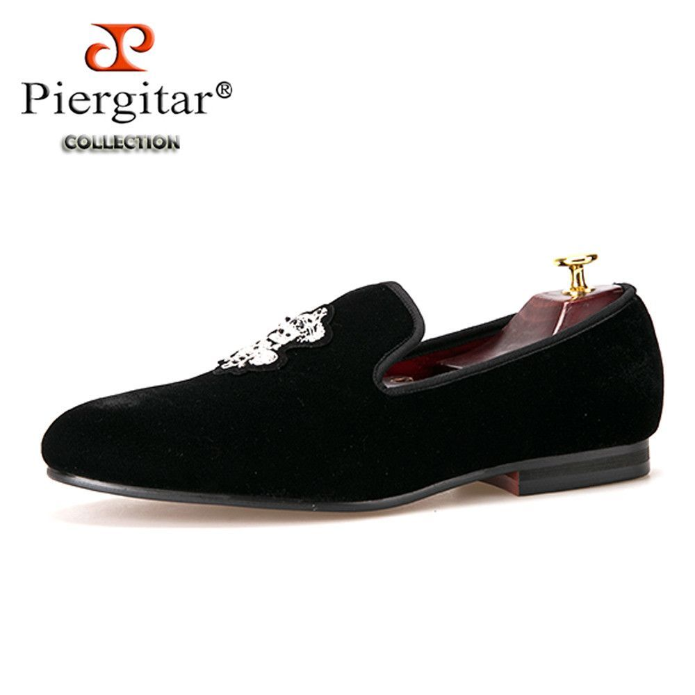 5358809e6 Piergitar Bees Indian silk embroidery men velvet shoes fashion Men Loafers  wedding and party male shoe