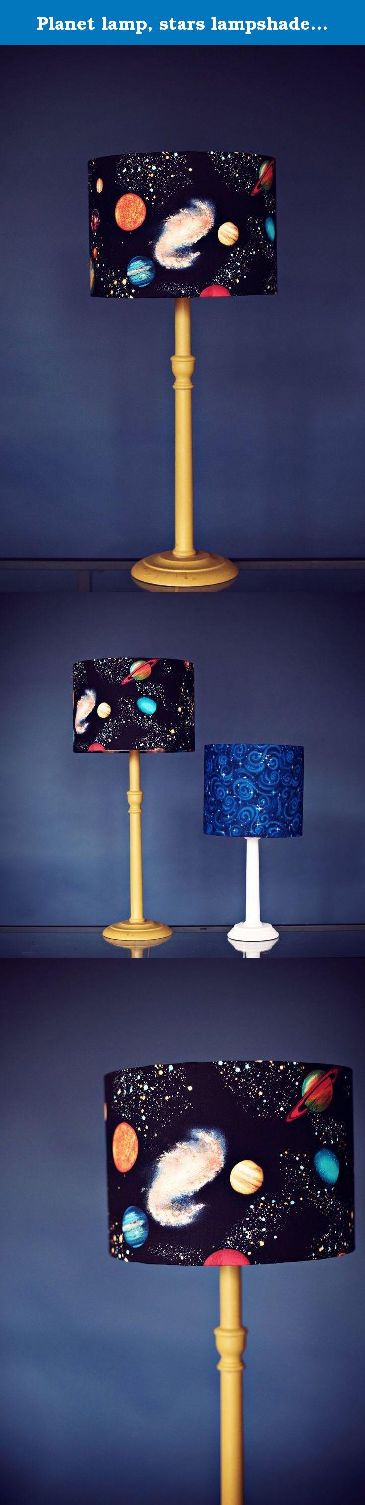 lamp, stars lampshade, space lamp, black lamp, kids