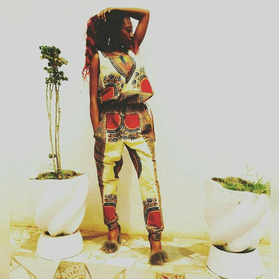f52869a7d89 Women Dashiki romper in cream and mix print option jumpsuit with draw  string tunnel waist
