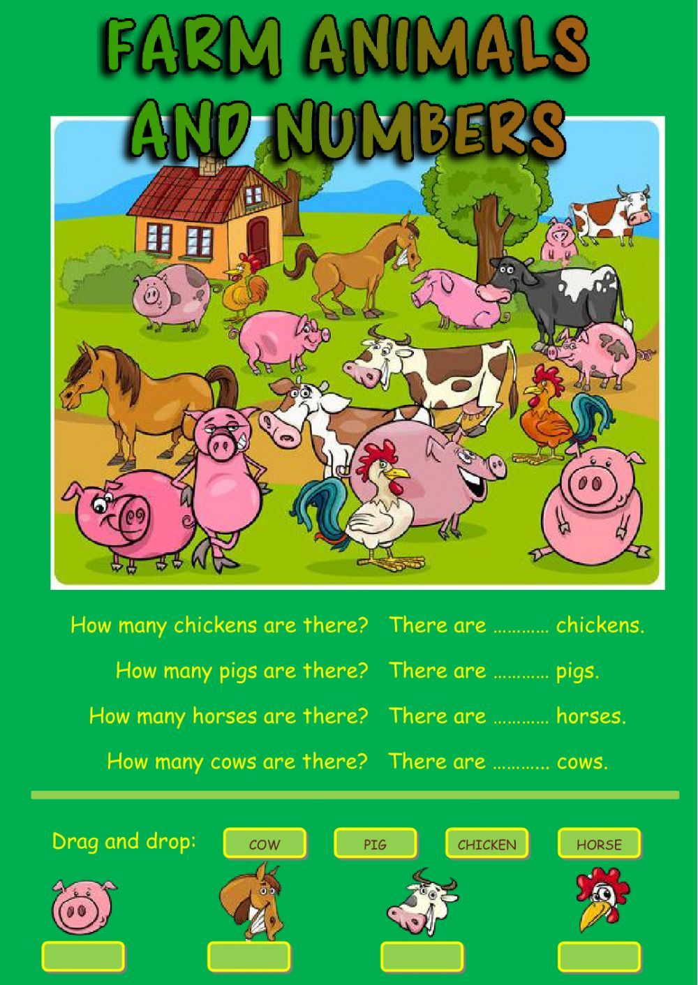 Farm animals and numbers Interactive worksheet Grades