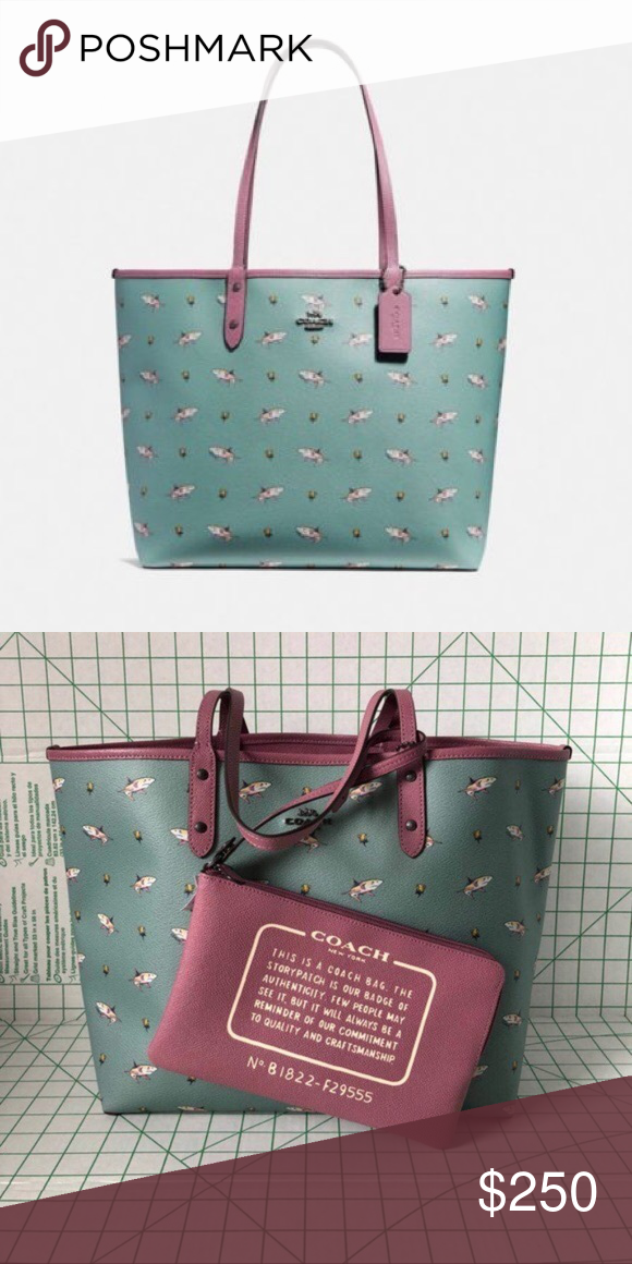 f5552de51d91 COACH Reversible City Tote w Shark Print Never used! Perfect condition!  Have the shark print out or go all pink! Comes with mini wallet!