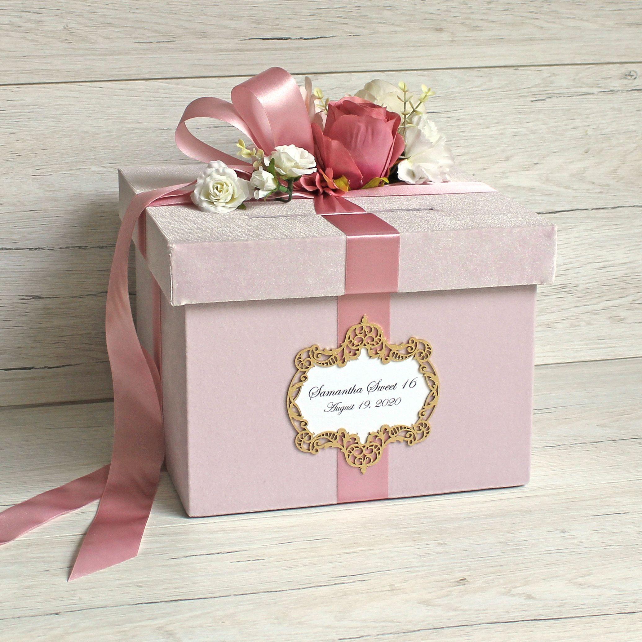 Personalized Card Box For Wedding Custom Wedding Card Holder Large Dusty Pink Velvet Card Box With Slot In 2020 Card Box Wedding Custom Wedding Cards Money Box Wedding