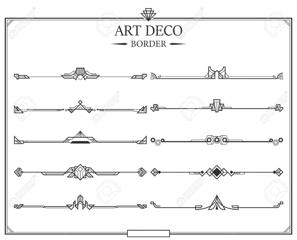 Set Of Art Deco Gold Calligraphic Page Dividers Vector Golden Art Deco Page Dividers Art Deco Borders