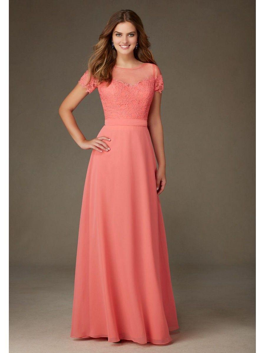 Aline illusion neckline short sleeves long chiffon lace bridesmaid