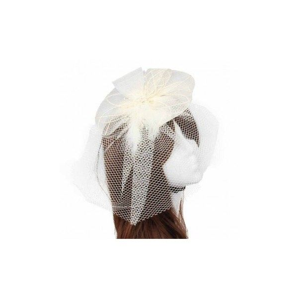 Bride Women Flower Feather Bead Mesh Fascinator Wedding Party... ($5.57) ❤ liked on Polyvore featuring accessories, hair accessories, beige, other, barrette hair clips, feather fascinators, bridal fascinator, bridal flower hair clip and flower hair accessories