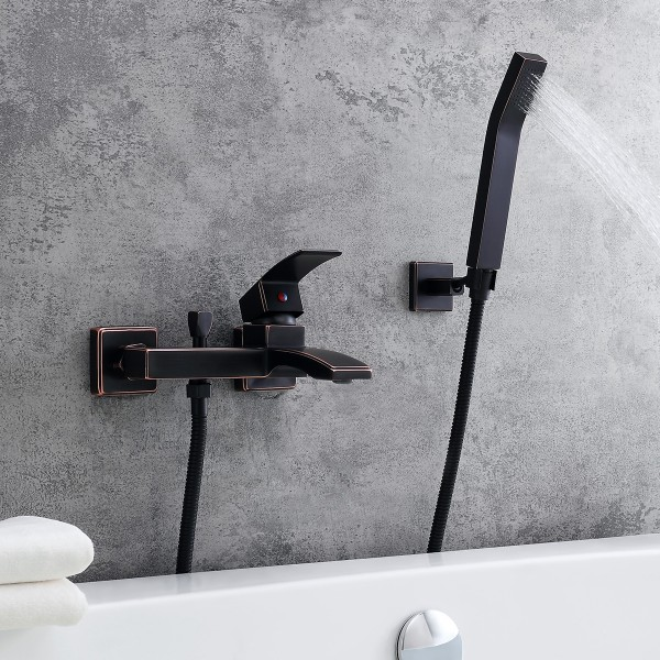 Modern 1 Handle Antique Black Wall Mount Tub Filler Faucet With Flexible Hand Shower Solid Brass In 2020 Hand Shower Tub Filler Black Walls