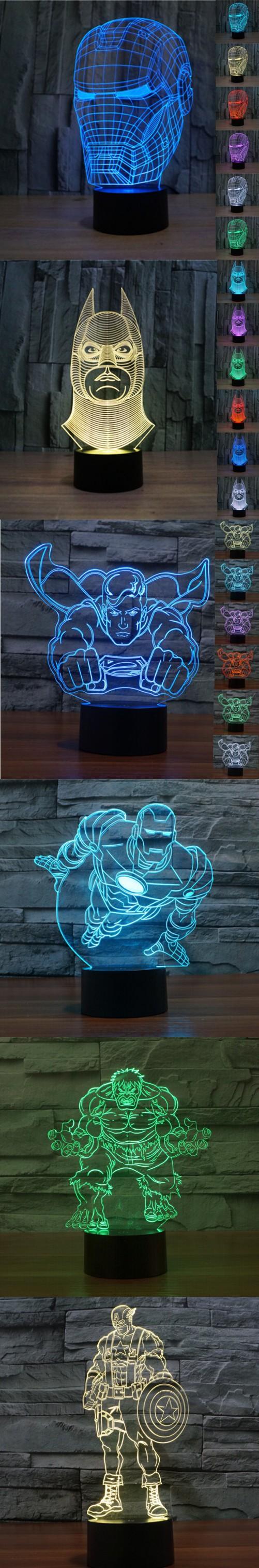 Super Hero Marvel Avengers Toys Iron Man Mask Light Up Toys Captain America 3d Led Lamp Best Child Gift Kids Toy 3d Led Lamp Iron Man Gift Marvel Avengers Toys