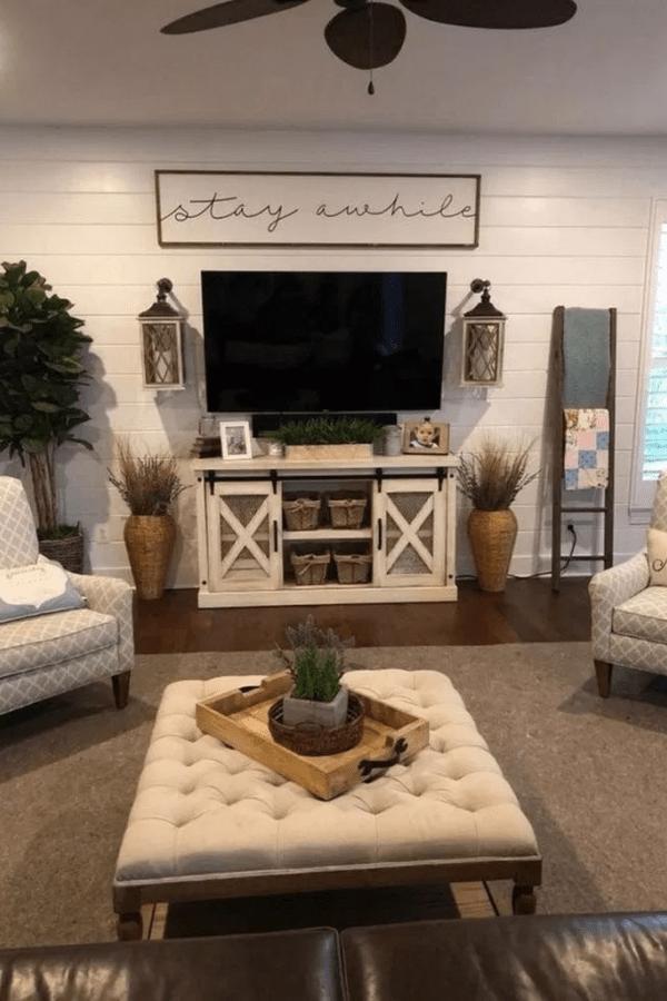32 Beautiful Farmhouse Living Room Tv Stand Design Ideas In 2020 Living Room Tv Stand Wall Decor Living Room Farmhouse Decor Living Room
