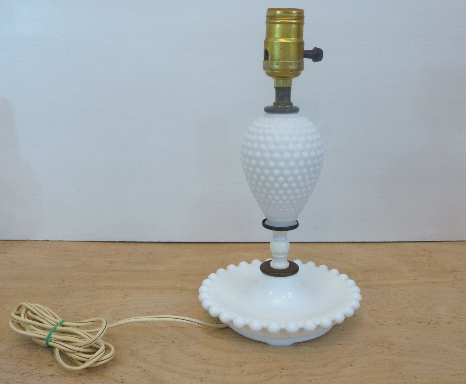 Glass Lamp Bases South Africa: Hobnail Milk Glass Lamp Base Early American Beach Decor