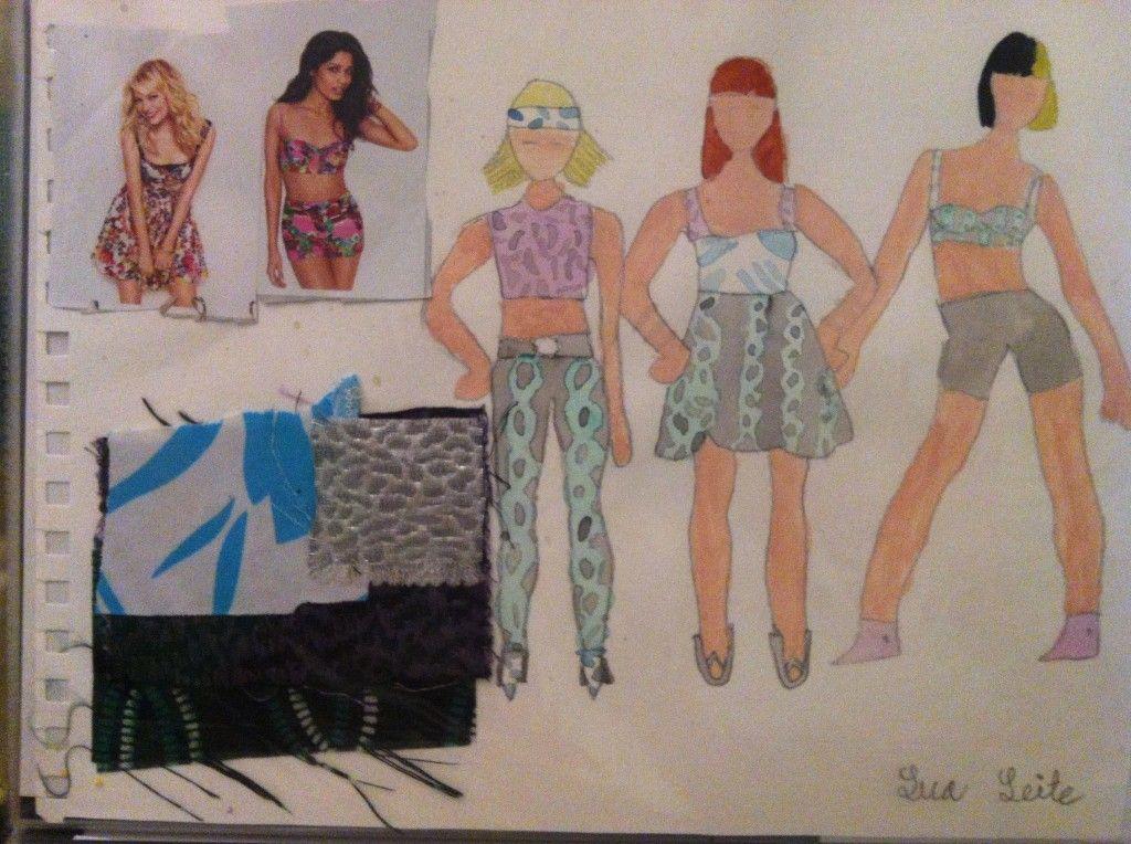 12 Year Old Fashion Design Group Lua Leite Swatches Fabrics Fashion Concept Gouache Illustratio Illustration Fashion Design Fashion Class Design Classes