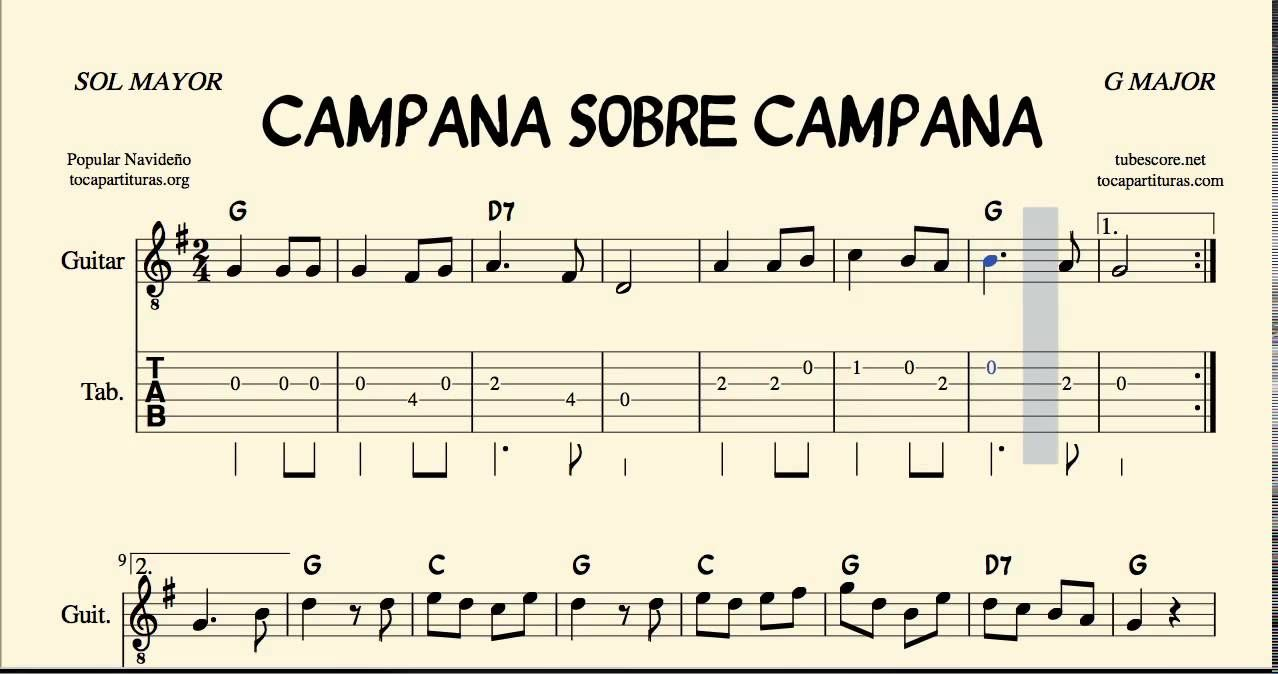 Campana Sobre Campana Tablatura Y Partitura En Sol M Con Acordes Villancico Sheet Music Music Playlist