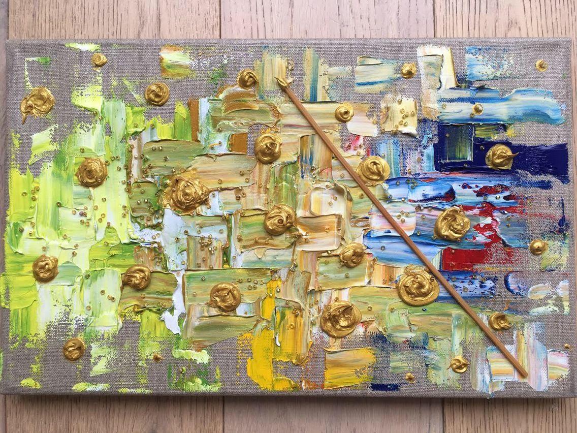 Tableau Art Abstrait Peinture Huile et Collage