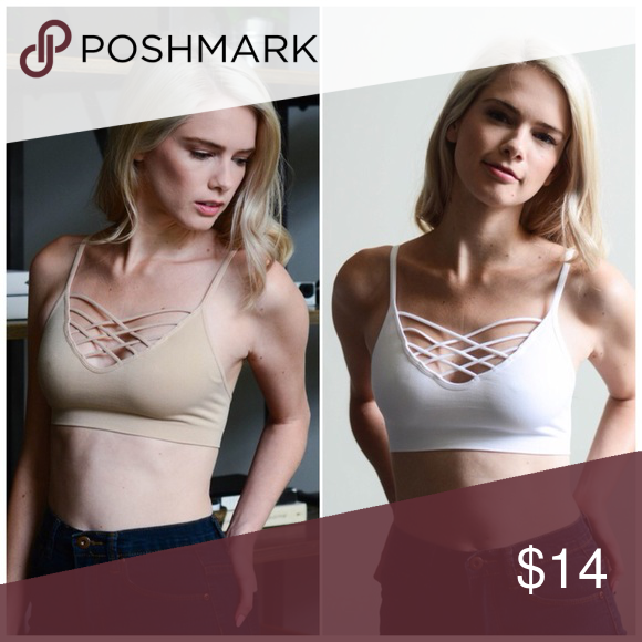 2b7fa4be378 ✨2 for  25✨ Nude Interwoven Strappy Front Bralette Interwoven Strappy Front  Bralette - Color  Nude. Also available in Black and White Fabric  92% Nylon  8% ...