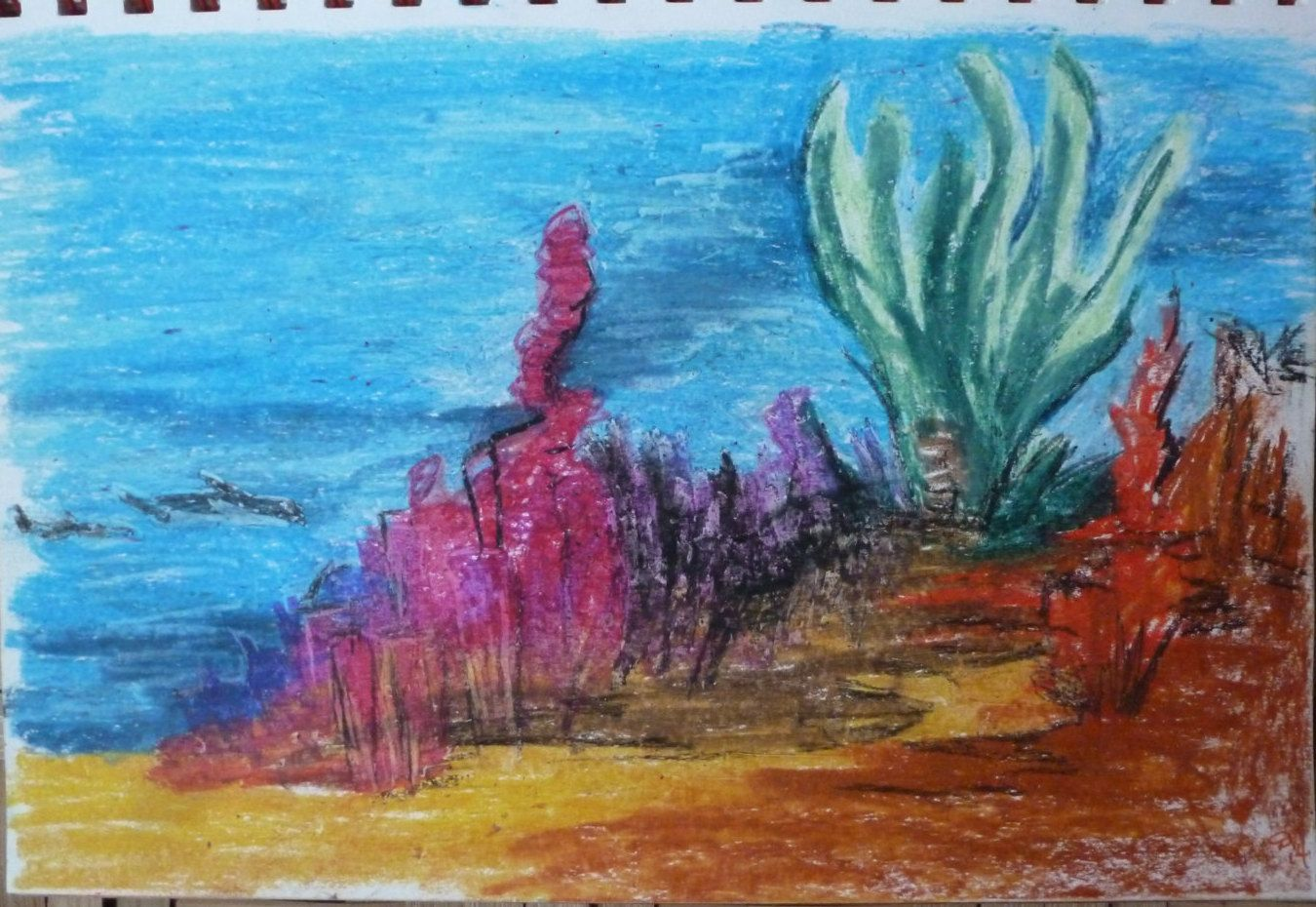 Distant Orca By Darla Vaughan Oil Pastel Painting Ocean Creatures Fine Art Drawing Seascape Unmatted Unframed Underwat Oil Pastel Paintings Painting Oil Pastel