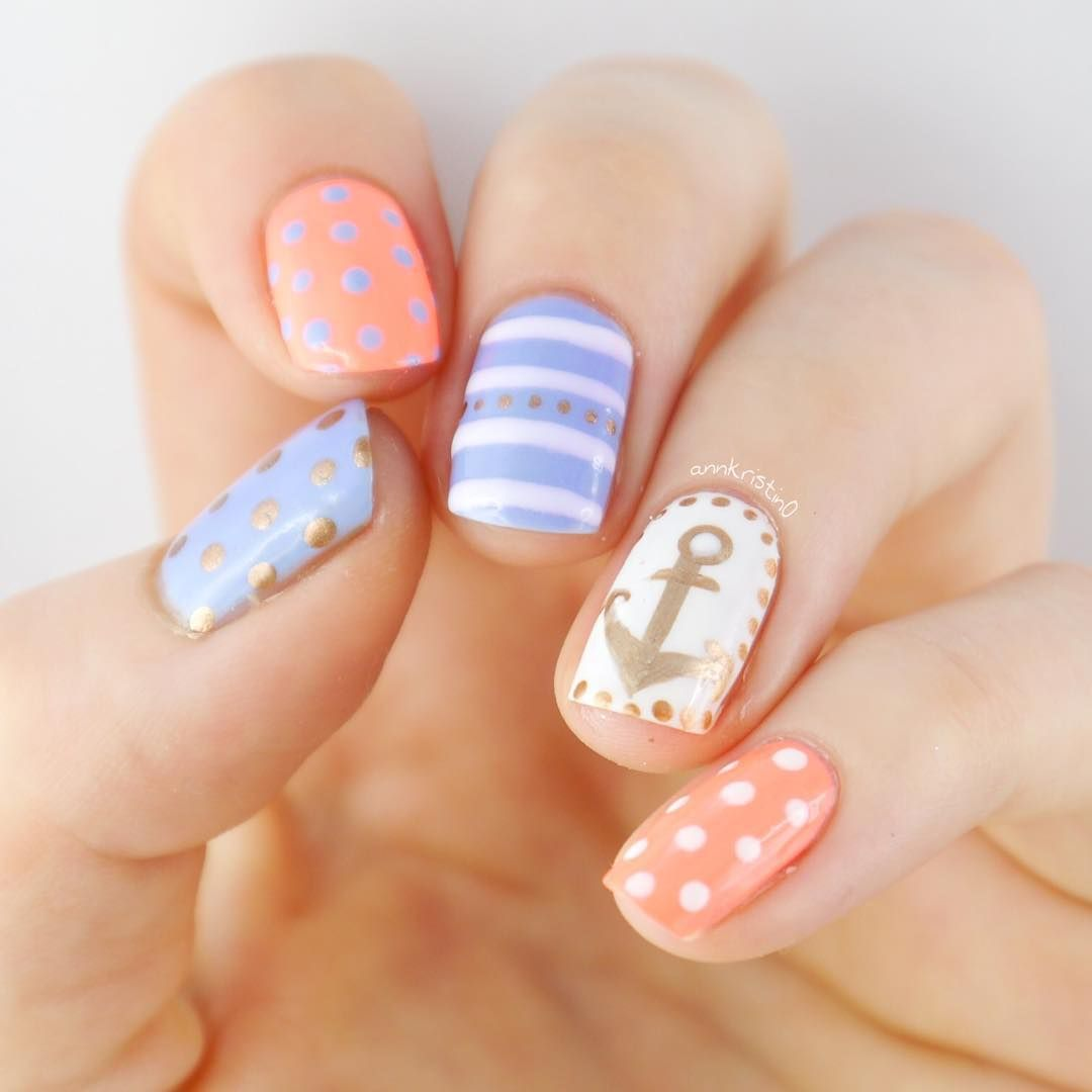 Pastel Coral, Blue, and Gold Nautical Nails With Polka Dots and ...