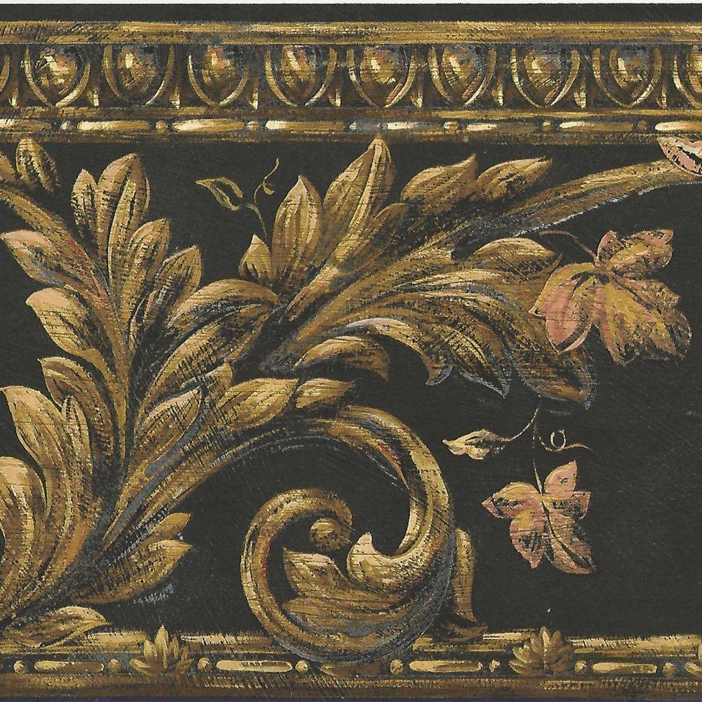Victorian Gold Leaf Scrolls on Dramatic Black Background