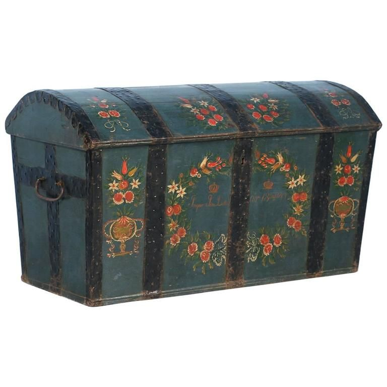 Antique Swedish Dome Top Trunk with Original Blue Green Paint, Dated 1847 - Antique Swedish Dome Top Trunk With Original Blue Green Paint, Dated