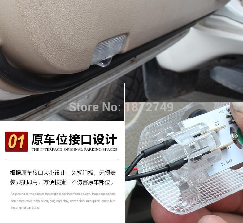 For TOYOTA Avensis LED Door Warning Light With Toyota Logo