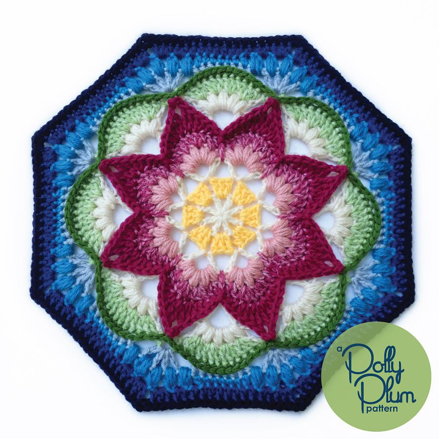 Lotus Moon Tiles pattern by Polly Plum | Ravelry, Lotus and Moon