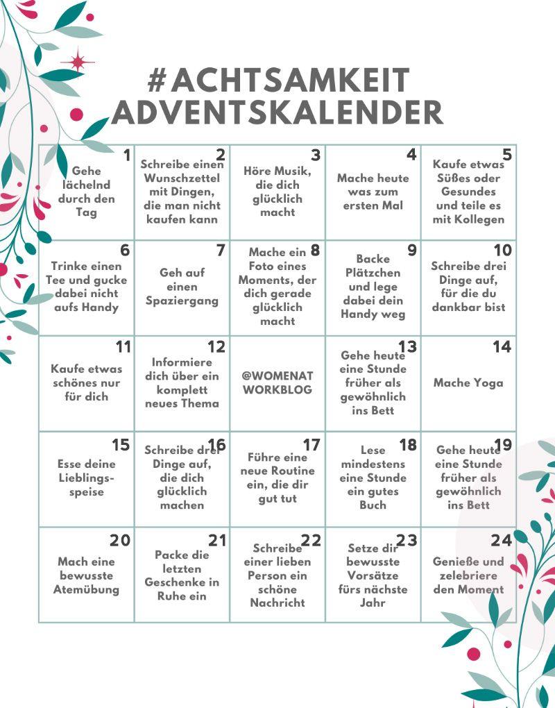 Achtsamkeit-Adventskalender – 24 Tage für mehr Selbstfürsorge in der Vorweihnachtszeit #adventskalenderbasteln