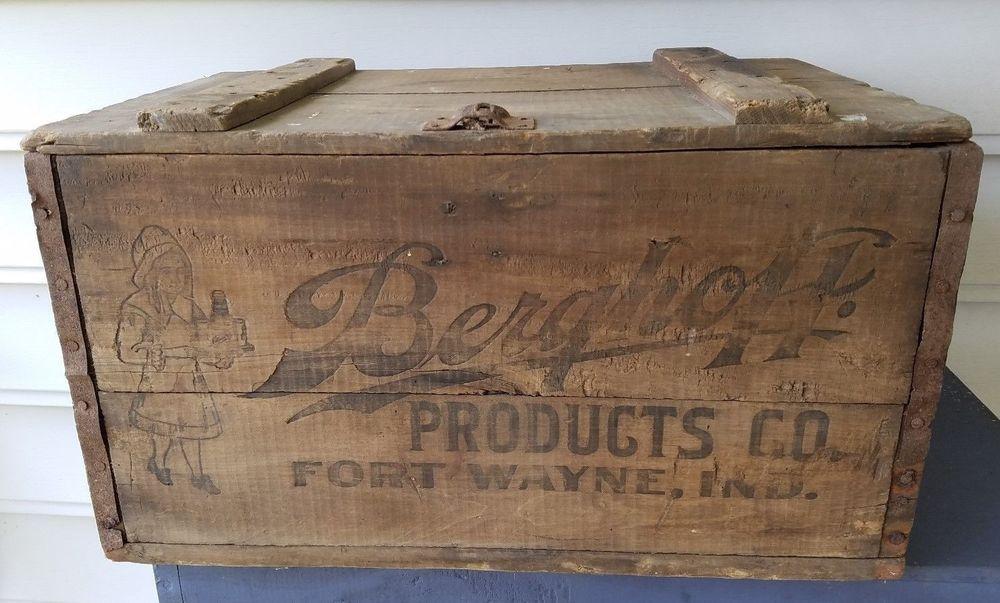 Old Advertising Wood Box Berghoff Products Co Beer Soda Fort Wayne Indiana Fort Wayne Indiana Wood Boxes Ebay