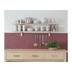 ikea v rde wandregal mit 5 haken birke stange mit 5 haken so sind k chenutensilien in. Black Bedroom Furniture Sets. Home Design Ideas