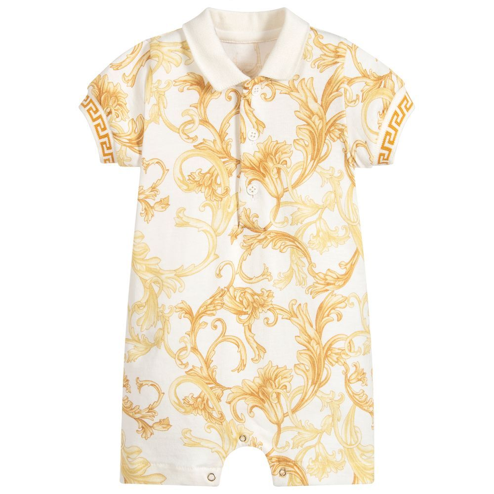 611f5f07f Baby boys gold and ivory Baroque print shortie from luxury designer Young  Versace. Made in luxuriously soft and stretchy cotton jersey, with the  iconic ...