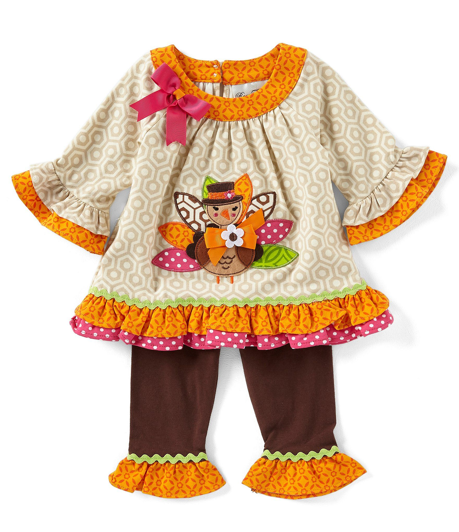 ea4c07cac97e Rare Editions Baby Girls 3-24 Months Thanksgiving Turkey/Geometric Tunic &  Solid Leggings Set #Dillards