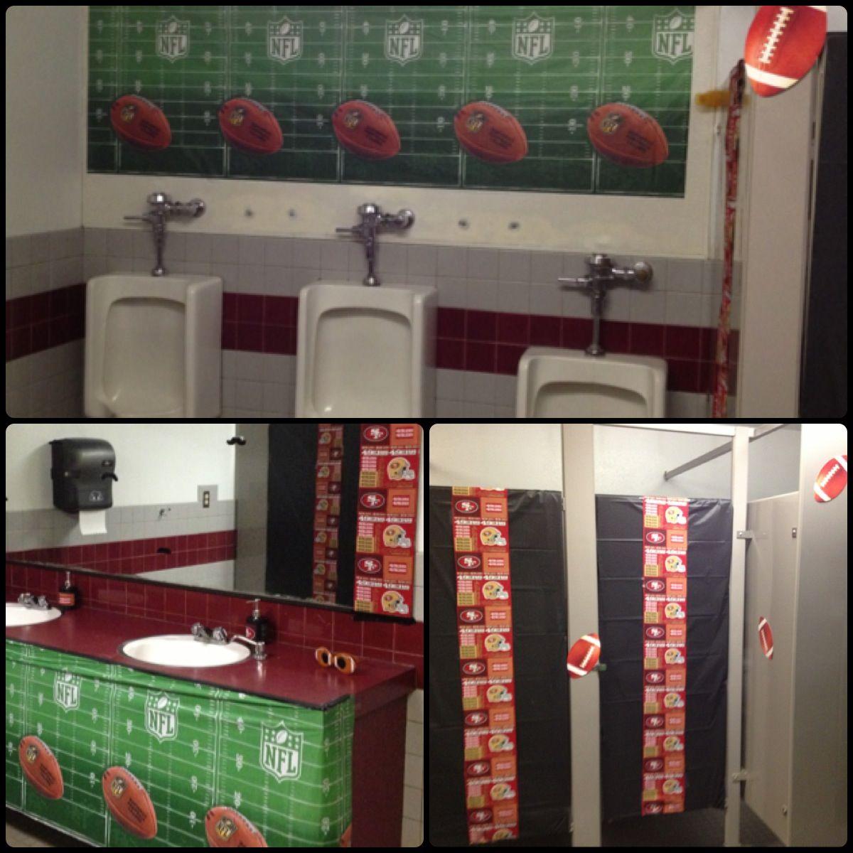 Football themed bathroom 49ers i 39 m ready to for Sports themed bathroom ideas