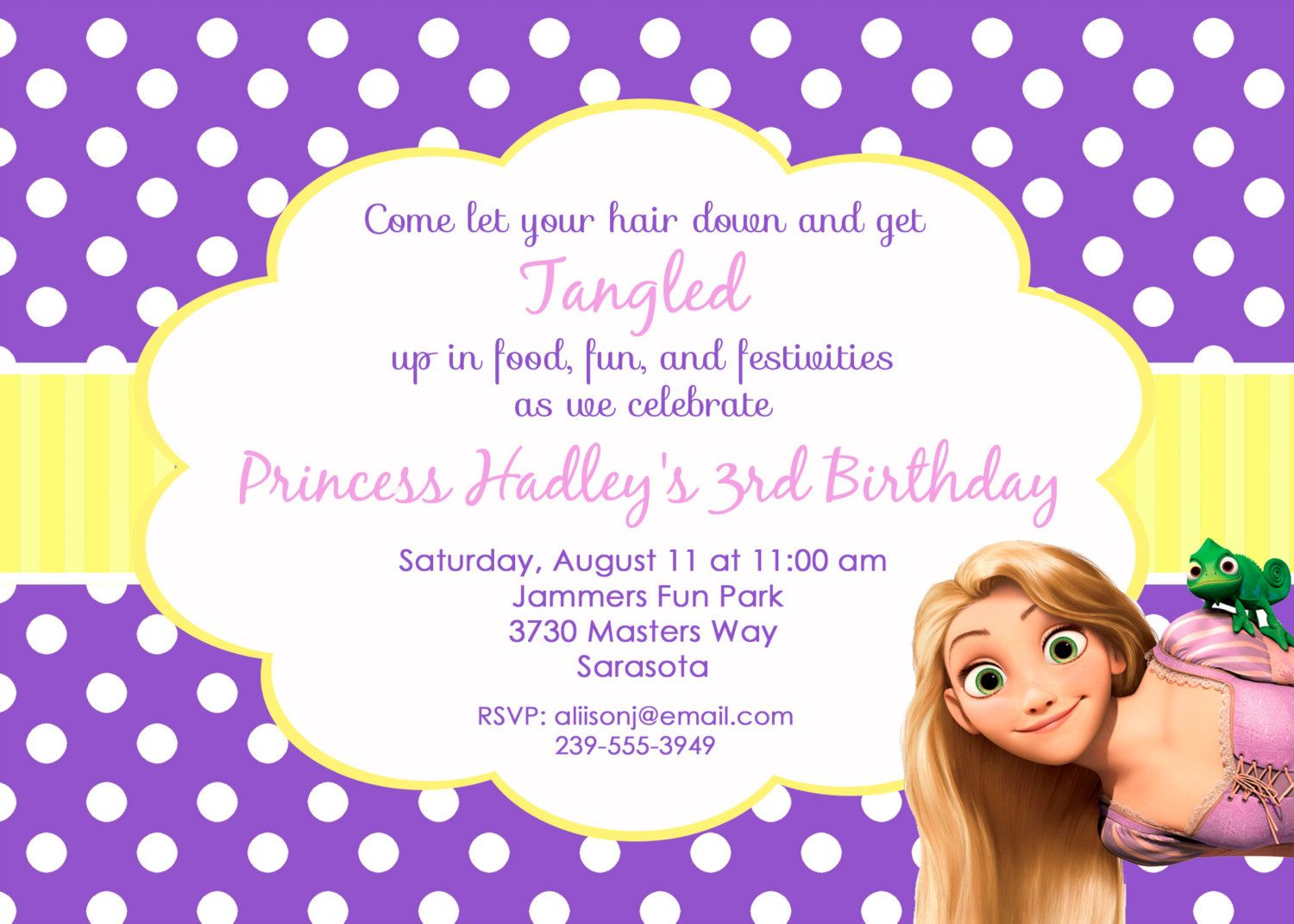 Tangled/Rapunzel Invitation, personalized and printable, 5x7. $12.50 ...
