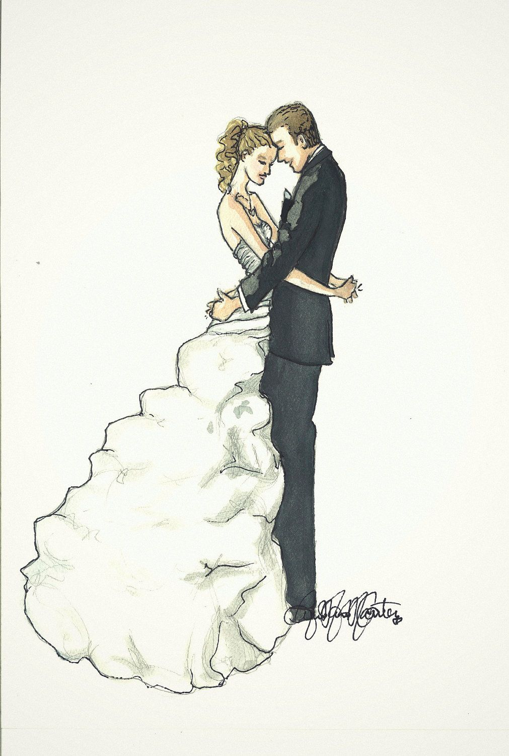 Wedding dress drawing  Sketch of the bride and groom on the wedding day Love this more