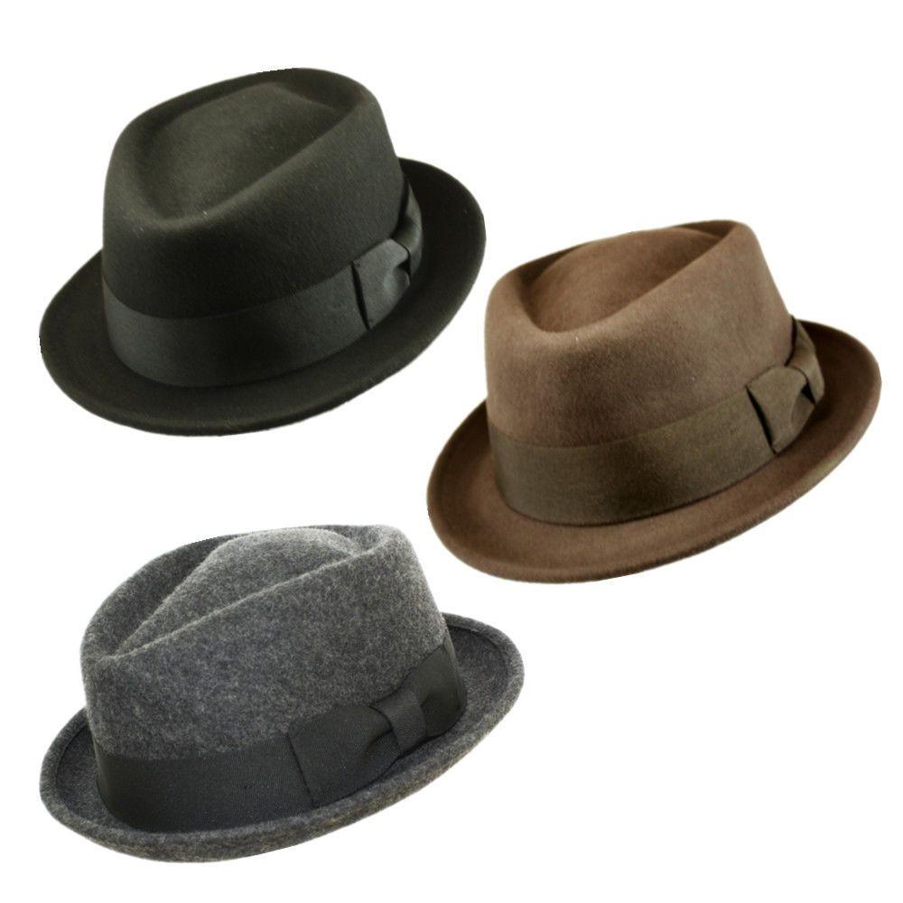 00dbc845721bd Man Classic 100% Wool Felt Crushable Porkpie Diamond Bowknot Fedora Round  Hat  FedoraTrilby