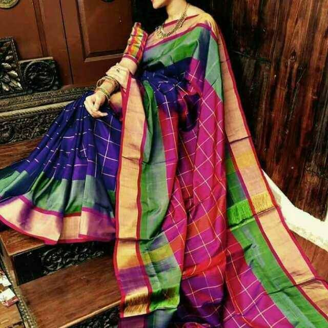 Uppada special checks sarees buy online uppada at best for Best check designs