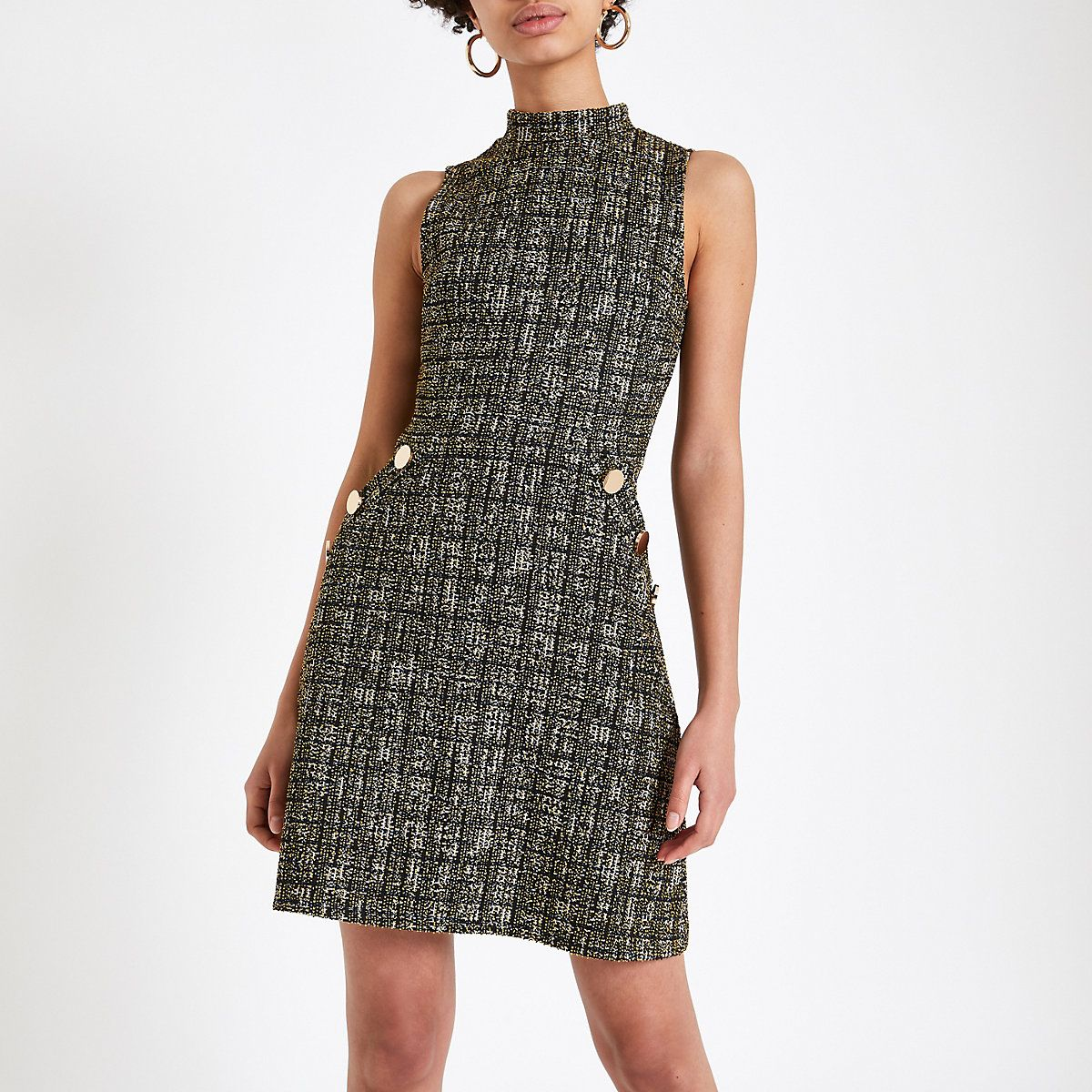 50815dfed55344 Gele bouclé hoogsluitende jurk - Swingjurken - Jurken - Dames