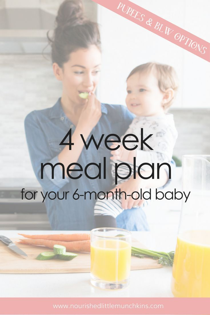 Baby S First Meal Plan 4 Week Meal Plan For Your 6 Month Old Baby Baby Led Weaning Baby Food