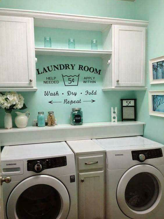 Laundry Room Small Cabinet Between Machines Shelf Behind Good Color Saying On Wall