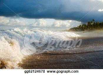 """Breaking Waves at Sunset Along Brazillian Beach"" - Beach Stock Photo from Go Graph"