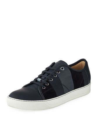 939143b5fc5d Men  s+Striped+Leather+Low-Top+Sneaker+by+Lanvin+at+Neiman+Marcus ...