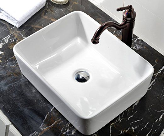 Vccucine Rectangle Above Counter Porcelain Ceramic Bathroom Vessel Vanity Sink Art Basin Amazon Com 48 99 Vessel Sink Bathroom Bathroom Sink Vanity Sink