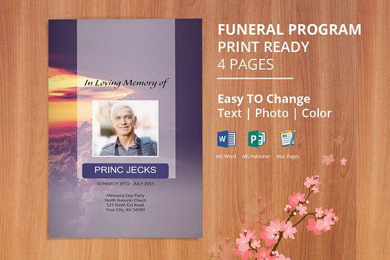 Printable Funeral Program Template, Memorial Program , Obituary - funeral program template microsoft
