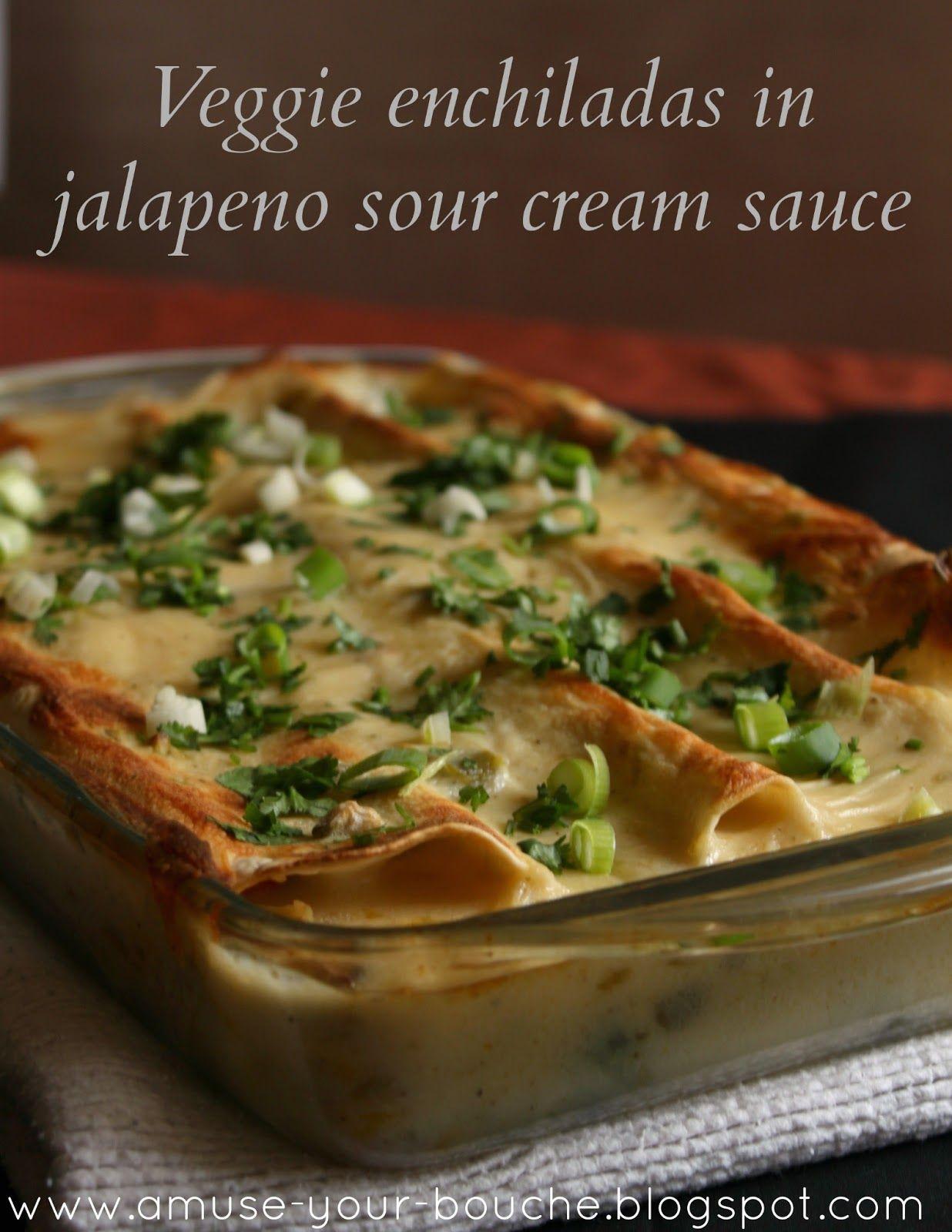 Veggie Enchiladas In Jalapeno Sour Cream Sauce Easy Cheesy Vegetarian Veggie Enchiladas Vegetarian Dishes Recipes