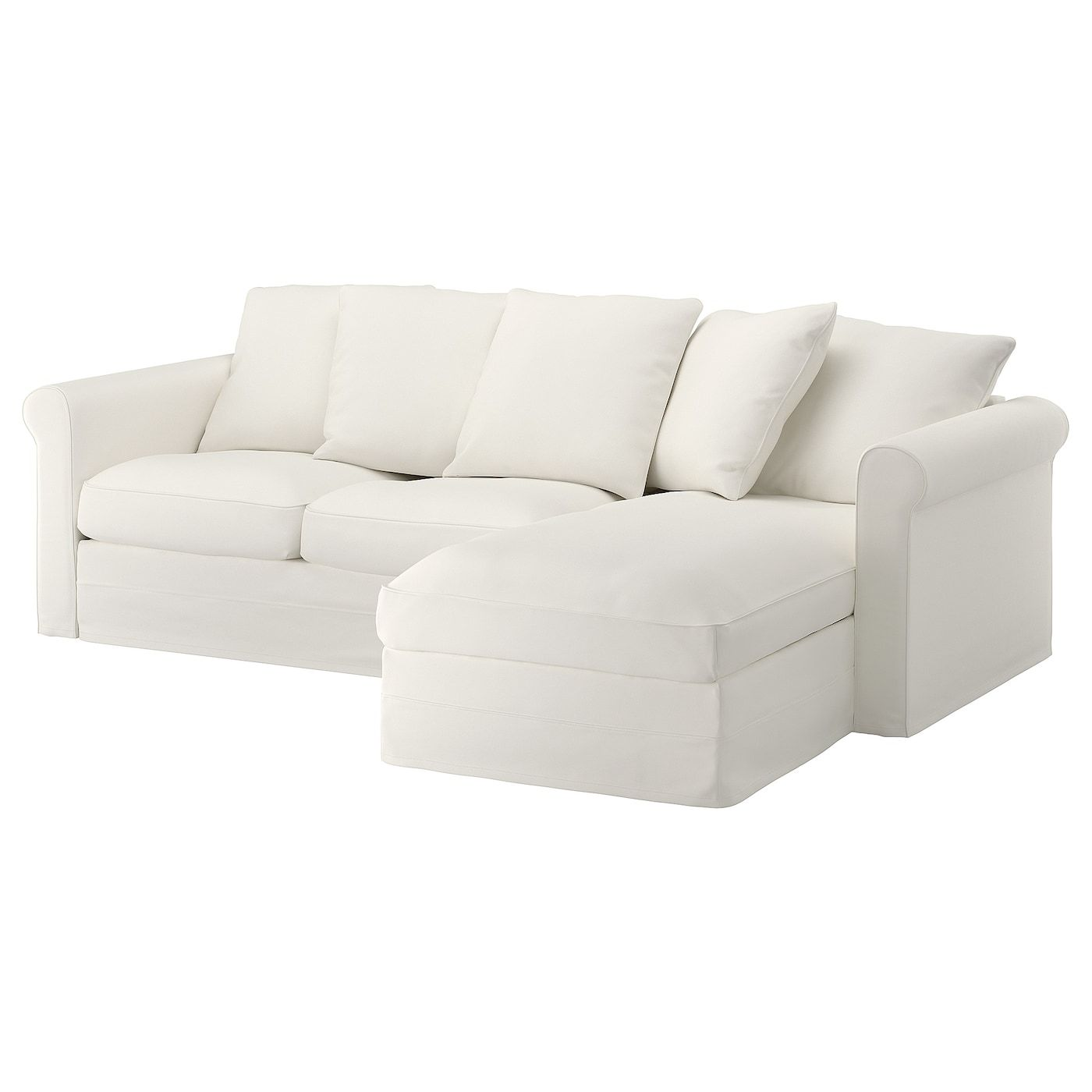 Gronlid Sofa With Chaise Inseros White In 2020 Sofa Bed With Chaise Sofa Back Cushions
