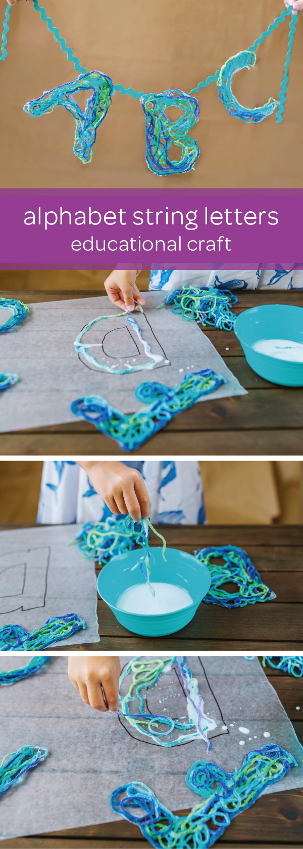 Help your little one learn all the letters of the alphabet with this string letters craft and other educational game ideas. Draw the outline of the letters on wax paper and have your toddler use colorful yarn dipped in kid-safe glue to fill in the letters. Once your letters are dry, peel them off the wax paper and hang them on a clothesline. Your child can practice sorting the letters into alphabetical order. For a more challenging game, have your kid try to build simple words.