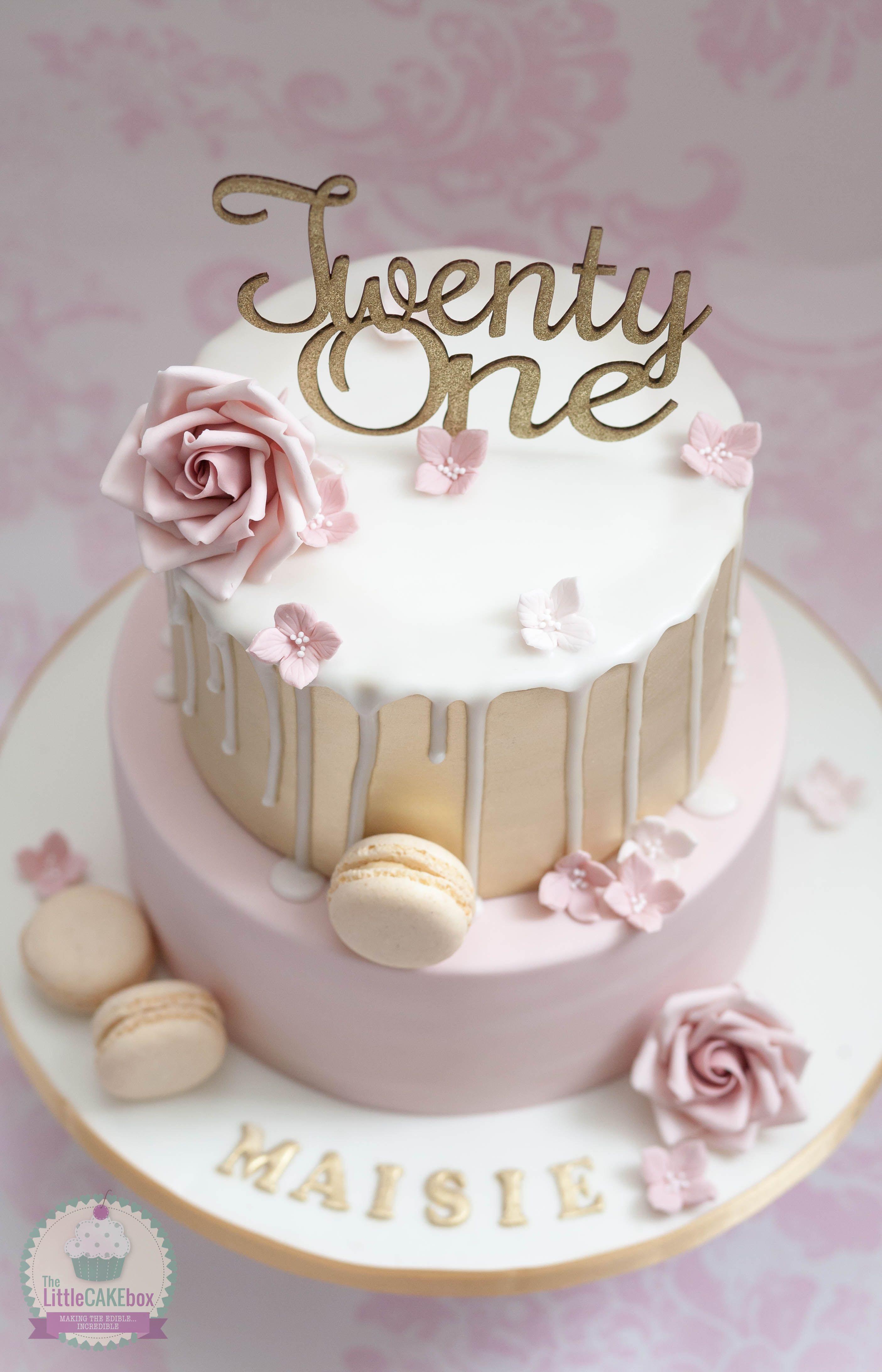 Gold And Pink Fondant Drip Cake