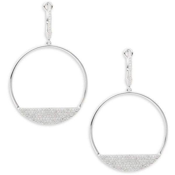 Effy Diamond & 14K White Gold Hoop Earrings/1.5in (£985) ❤ liked on Polyvore featuring jewelry, earrings, diamond fine jewelry, 14 karat white gold earrings, 14 karat gold hoop earrings, white gold hoop earrings and white gold diamond jewelry