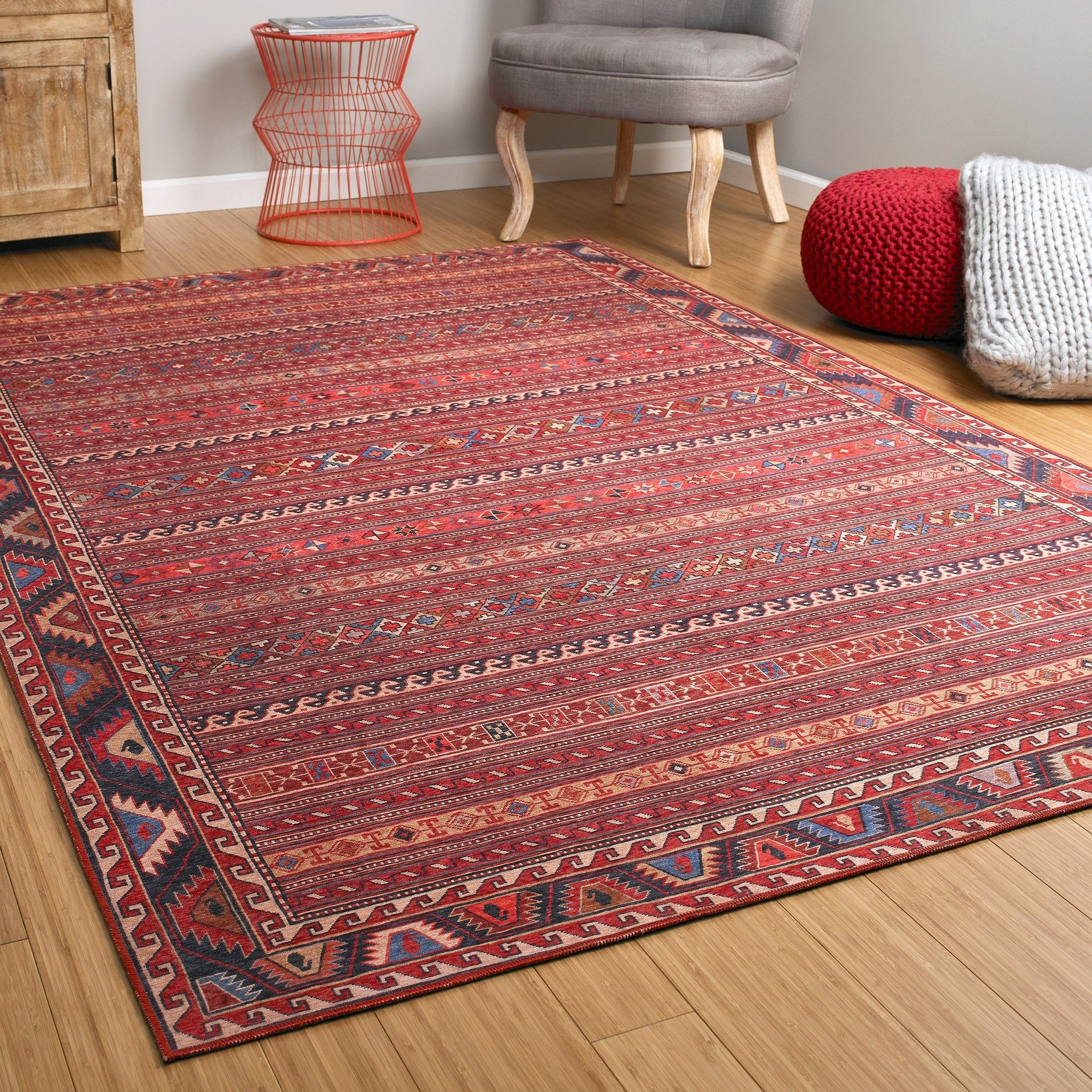 Ballard Vintage Printed Replica Indoor Outdoor Rug Red 5 X 7 6