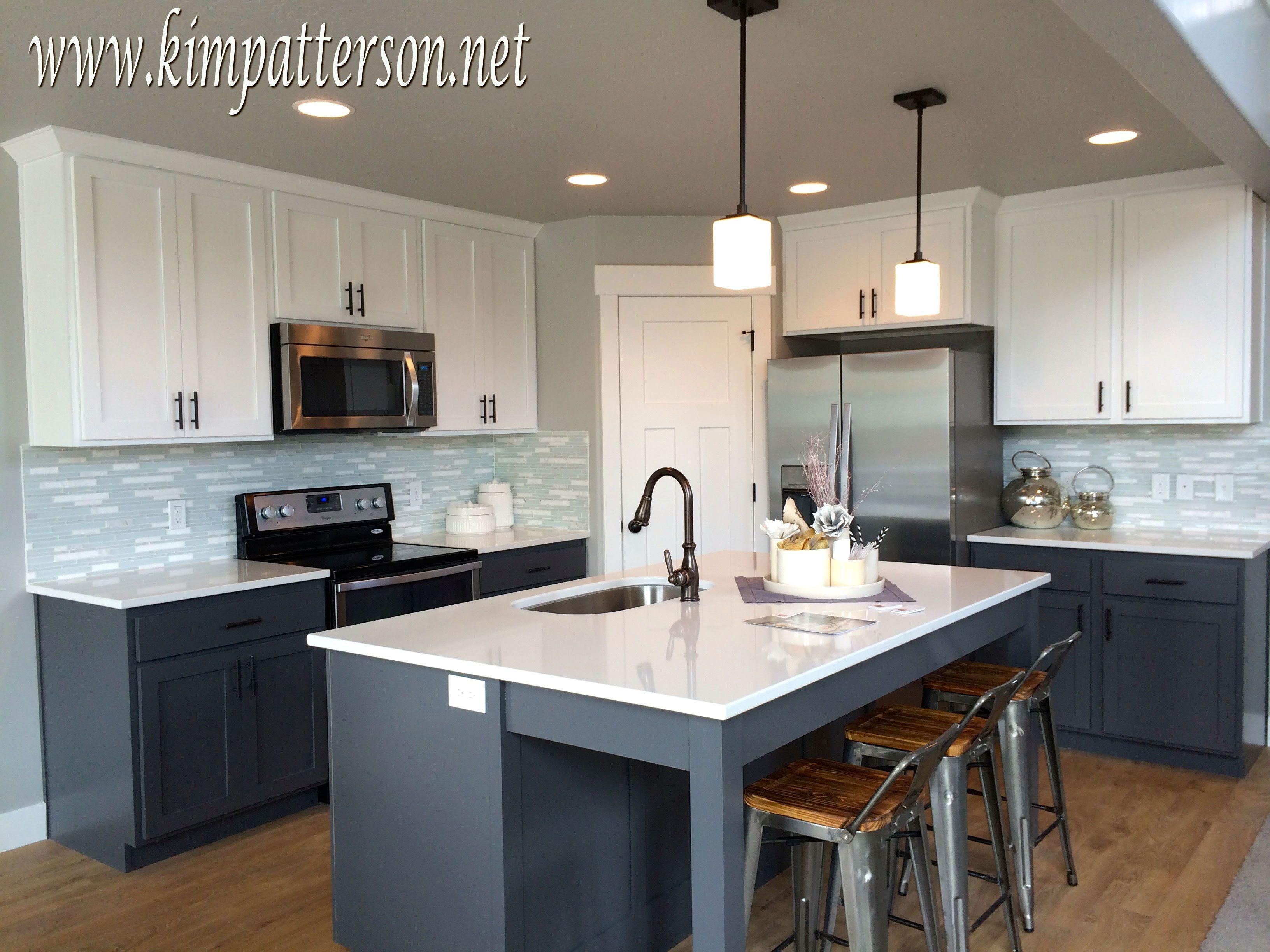 Kitchen Antique White Cabinets With Black Appliances Grey