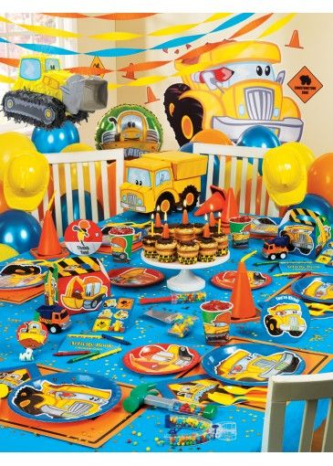 First Birthday Party Construction Theme for boys Ready to be a mom