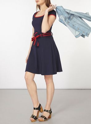Dorothy Perkins Navy dress with red tipping | Debenhams