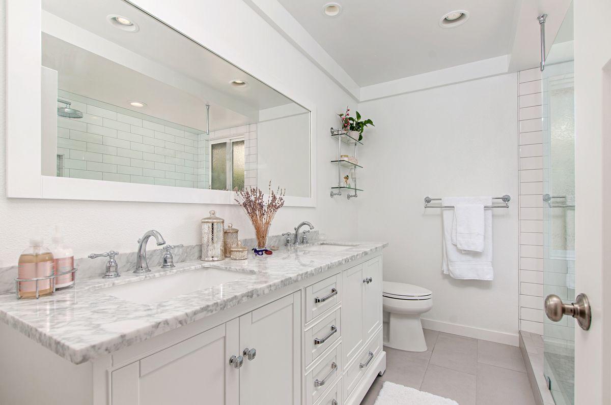All White Master Bathroom Remodel White Master Bathroom White